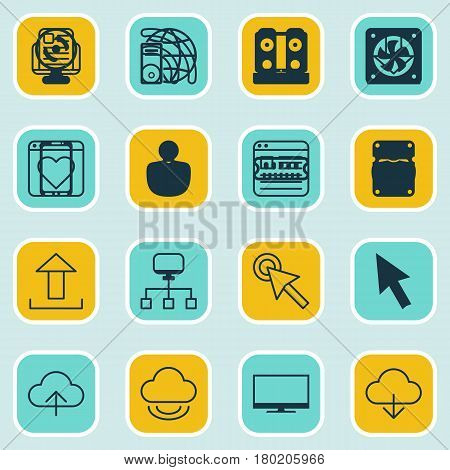 Set Of 16 Online Connection Icons. Includes Save Data, Data Synchronize, PC And Other Symbols. Beautiful Design Elements.