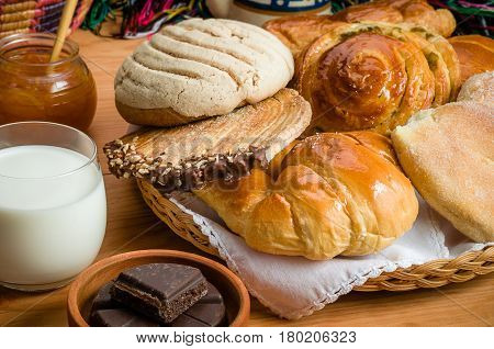 Sweet bread assorted traditional Mexican bakery image