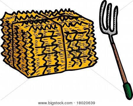 Hay Bale And Pitchfork