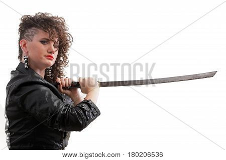 Girl - Ear super piercing woman dark hair natural brown-haired holding in her hands a katana