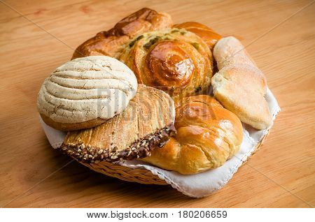 Sweet bread assorted traditional Mexican bakery basket
