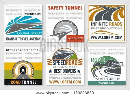 Road travel and traffic safety flyer template. Speedy highway, crossroad and road tunnel symbols for transportation service, road tunnel safety and transit travel agency business card or poster design