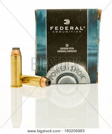 Winneconne WI - 31 March 2017: Box of Federal ammunition in 44 magnum on an isolated background.