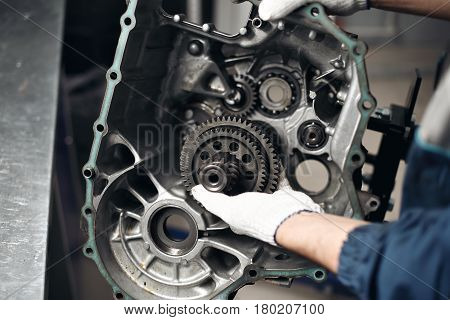 Car Gear Box Repair automotive repair workshop garage mechanic.