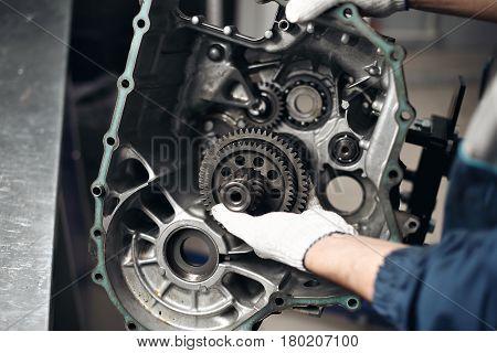 Car Gear Box Repair automotive repair workshop garage mechanic.