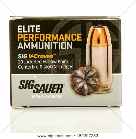 Winneconne WI - 5 April 2017: A box of Sig Sauer V-crown hollow point bullets on an isolated background.