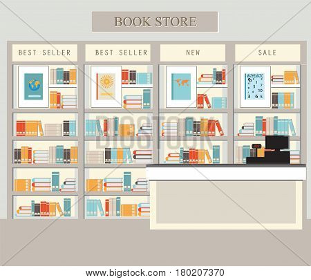 Bookstore with bookshelves interior building vector illustration.