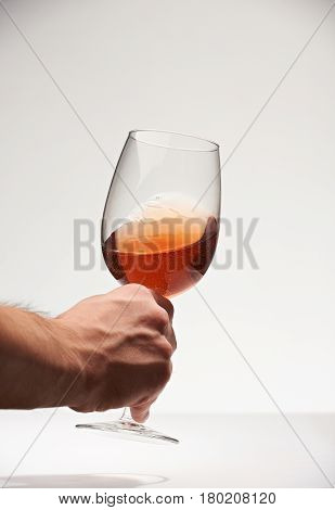 Sommelier Hand With Red Wine Glass