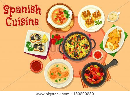 Spanish cuisine healthy dinner dishes icon with seafood paella, fish tapas escabeche, olive stew with sausage, tomato vegetable soup gazpacho, potato tortilla, chicken pie, rabbit in bread sauce