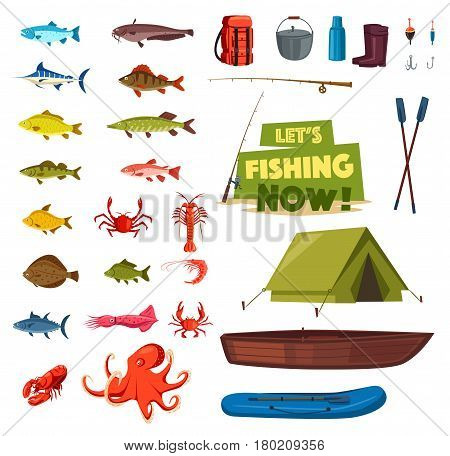Fishing sport cartoon icon set. Fish, fishing rod, boat and tackle, fisherman catch and equipment, tourist tent and fresh lobster, crab, salmon, tuna, pike, marlin. Design element for fishing emblem
