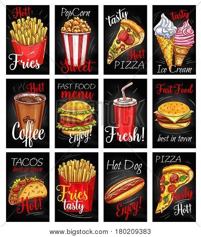 Fast food restaurant menu chalkboard poster set. Hamburger, pizza, hot dog, french fries, coffee, cheeseburger, sweet soda drink, taco, ice cream cone and popcorn sketch card. Fast food cafe design