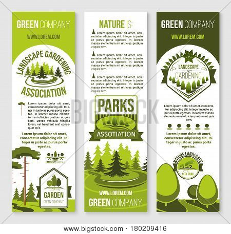 Landscape gardening and eco park banner template. City park and urban garden symbols with green tree, leaf, decorative plant and grass lawn. Landscape architecture studio flyer, green company design