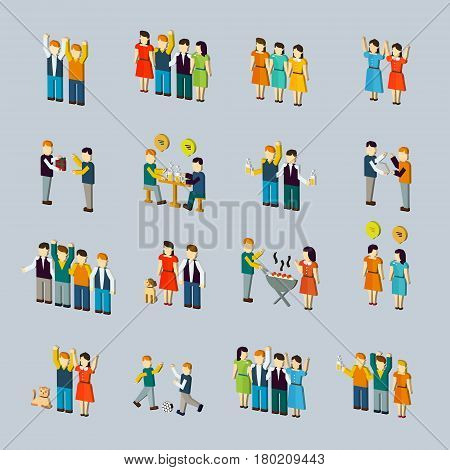 Social Activity Isometric Icon Set
