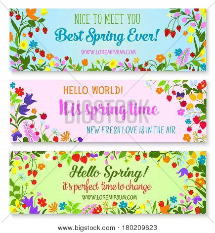 Hello Spring and Spring Time greeting quotes on vector banners set. Floral wreath and bouquets of springtime blooming flowers, garden tulips or daisy bunch and forest poppy blooms with berries