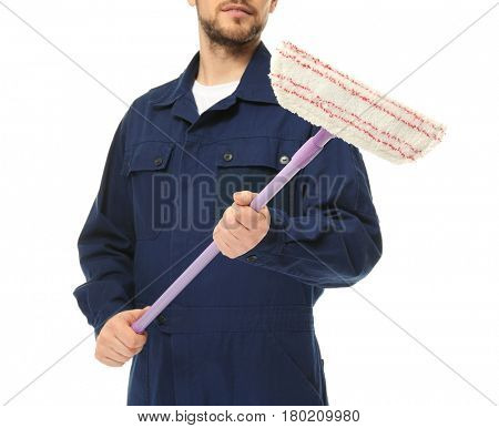 Young window cleaner on white background