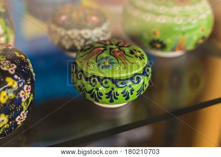 Colorful Moroccan faience pottery dishes. Souvenir shop
