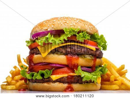 Hamburger With Fried Potatoes On A White Background.