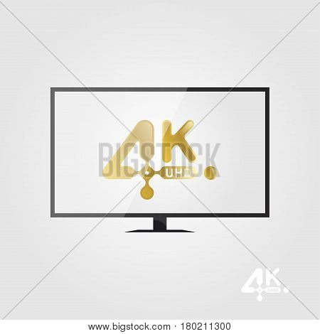 4K Ultra Hd Golden Vector Icon On The Tv Screen. Flat Vector Illustration Eps10