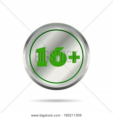 Restriction Of Age 16+ Sign Circle Icon Vector Eps 10