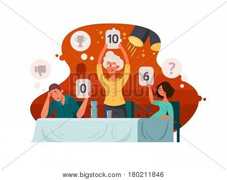 Judge on television contest. Group of judges exposes assessment. Vector illustration