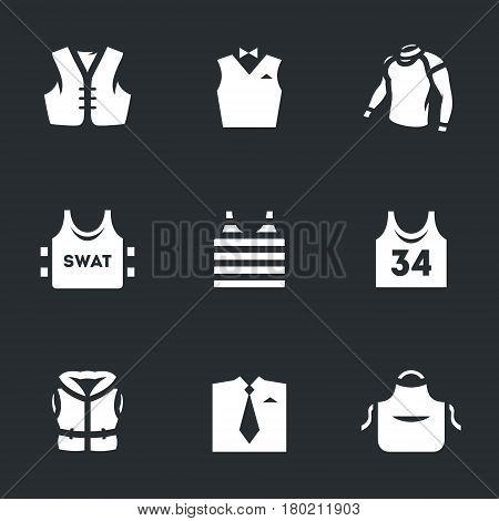 Biker waistcoat, waiter, thermal underwear, body armor, sea vest, sports T-shirt, life jacket, shirt and tie, apron.
