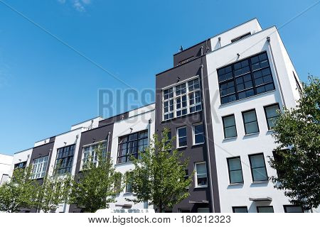 Modern row houses seen in Berlin, Germany