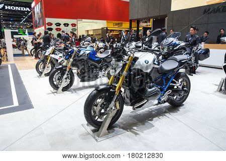 Bangkok Thailand. 28th Mar 2017. BMW G 310 motorcycle on display at The 38th Bangkok International Thailand Motor Show 2017 on March 28 2017 Nonthaburi Thailand