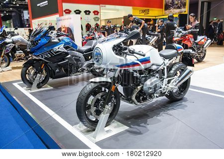Bangkok Thailand. 28th Mar 2017. BMW motorcycle on display at The 38th Bangkok International Thailand Motor Show 2017 on March 28 2017 Nonthaburi Thailand