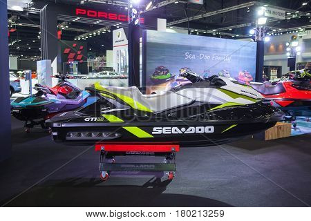 Bangkok Thailand. 28th Mar 2017. Seadoo Jetski on display at The 38th Bangkok International Thailand Motor Show 2017 on March 28 2017 Nonthaburi Thailand