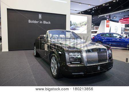 Bangkok Thailand. 28th Mar 2017. Rolls Royce car Phantom Drophead Coupe on display at The 38th Bangkok International Thailand Motor Show 2017 on March 28 2017 Nonthaburi Thailand