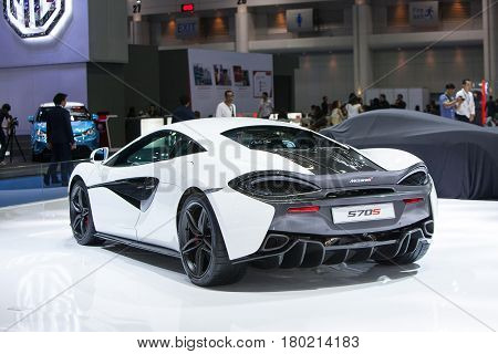 Bangkok Thailand. 28th Mar 2017. Back of Mclaren 570S car on display at The 38th Bangkok International Thailand Motor Show 2017 on March 28 2017 Nonthaburi Thailand