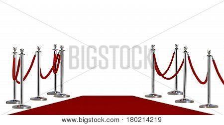 Pole barricade and red carpet on white background