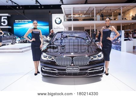 Bangkok Thailand. 28th Mar 2017. BMW M760Li xDrive Model v12 Excellence car on display at The 38th Bangkok International Thailand Motor Show 2017 on March 28 2017 Nonthaburi Thailand