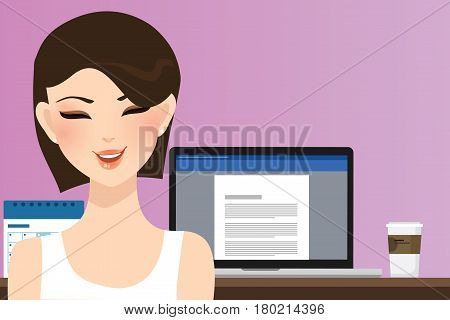 woman smile in front of computer working in office home as copy writer illustration of beautiful happy girl or student vector