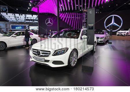 Bangkok Thailand. 28th Mar 2017. Mercedes benz C 350 e Estate car on display at The 38th Bangkok International Thailand Motor Show 2017 on March 28 2017 Nonthaburi Thailand