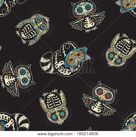 Day of The Dead colorful sugar skull of owl, penguin and raccoon. Mexican day of the dead. Seamless pattern with mexican skulls on a black background