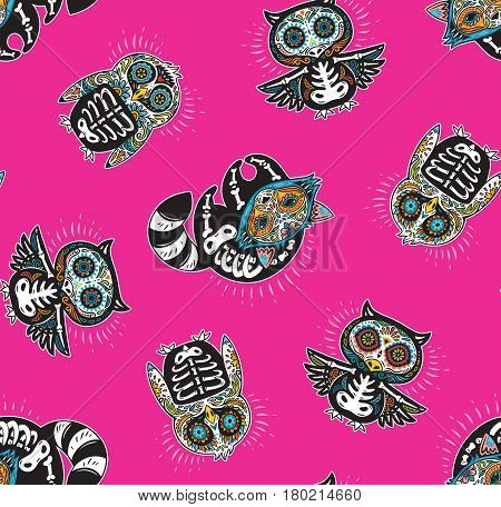 Day of The Dead colorful sugar skull of owl, penguin and raccoon. Mexican day of the dead. Seamless pattern with mexican skulls on a pink background