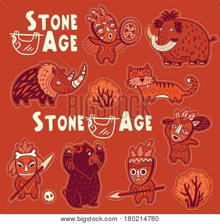 Collection of stickers with cartoon primitive hunters and prehistoric animals. Vector illustration