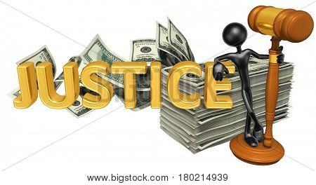 The Original 3D Character Illustration With Gavel Leaning On The Word Justice