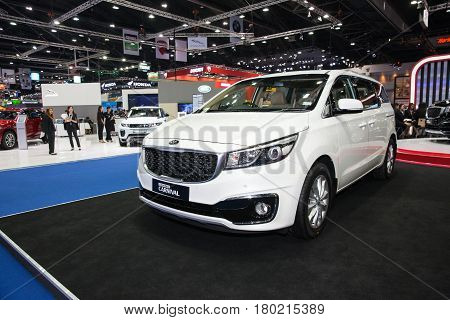Bangkok Thailand. 28th Mar 2017. Kia Grand Carnival car on display at The 38th Bangkok International Thailand Motor Show 2017 on March 28 2017 Nonthaburi Thailand