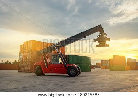 Business Logistic forklift truck shipping containers cargo in port Laem Chabang Chon Buri Province Thailand.
