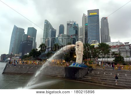 The Merlion Fountain In Singapore Hdr Photo Stlye