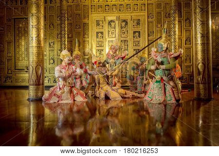 THAI KHON The masked Thai traditional dance Ramayana story is performance or performing art The best Thai show