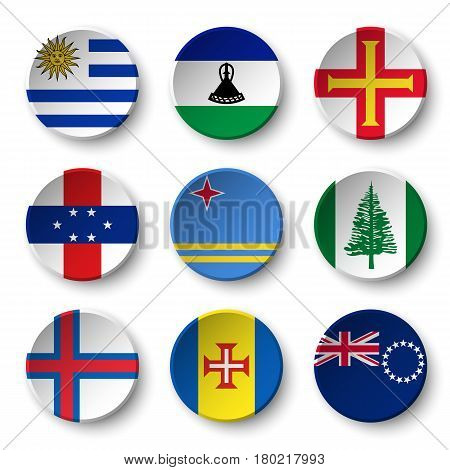 Set of world flags round badges ( Uruguay . Lesotho . Guernsey . Netherlands Antilles . Aruba . Norfolk Island . Faroe Islands . Madeira . Cook Islands )