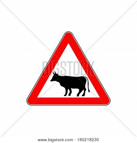 Cow Warning sign red. Farm Hazard attention symbol. Danger road sign