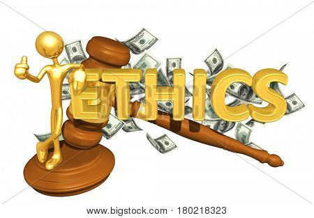 The Original 3D Character Illustration Leaning On The Word Ethics