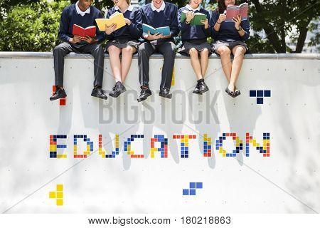 8 bit words illustration of edudcation knowledge