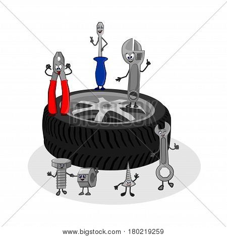 Vector cartoon funny illustration of auto service. Cute characters of tools - Screw bolt nut screwdriver adjustable wrench pliers - stand on the wheel of a car and smile