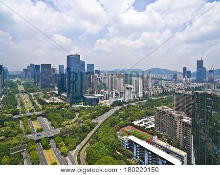 Aerial Photography Of City Viaduct Bridge Road With Landmark Buildings