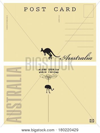 Australia Postal Card. The option of the back of the postcard with elements of the state of Australia.
